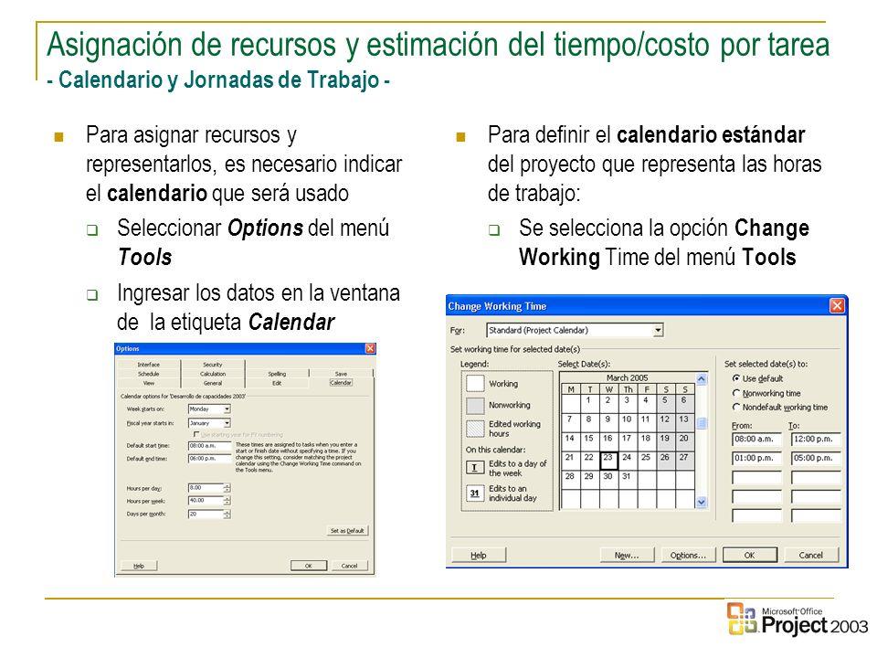 17 Para asignar recursos y representarlos, es necesario indicar el calendario que será usado Seleccionar Options del menú Tools Ingresar los datos en