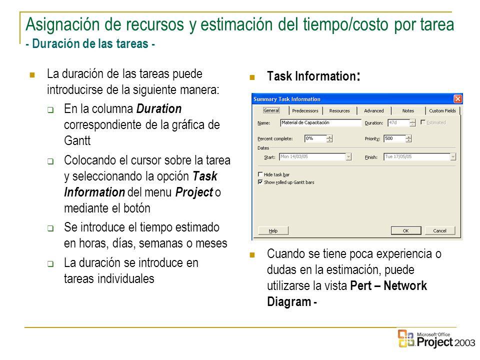 18 La duración de las tareas puede introducirse de la siguiente manera: En la columna Duration correspondiente de la gráfica de Gantt Colocando el cur