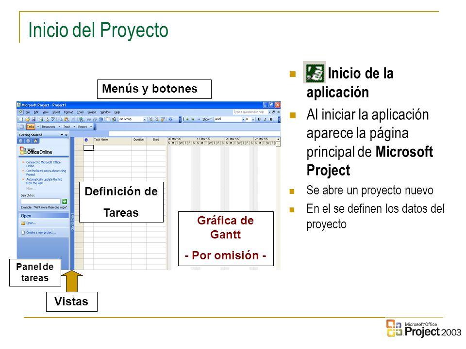 2 Inicio del Proyecto Inicio de la aplicación Al iniciar la aplicación aparece la página principal de Microsoft Project Se abre un proyecto nuevo En e