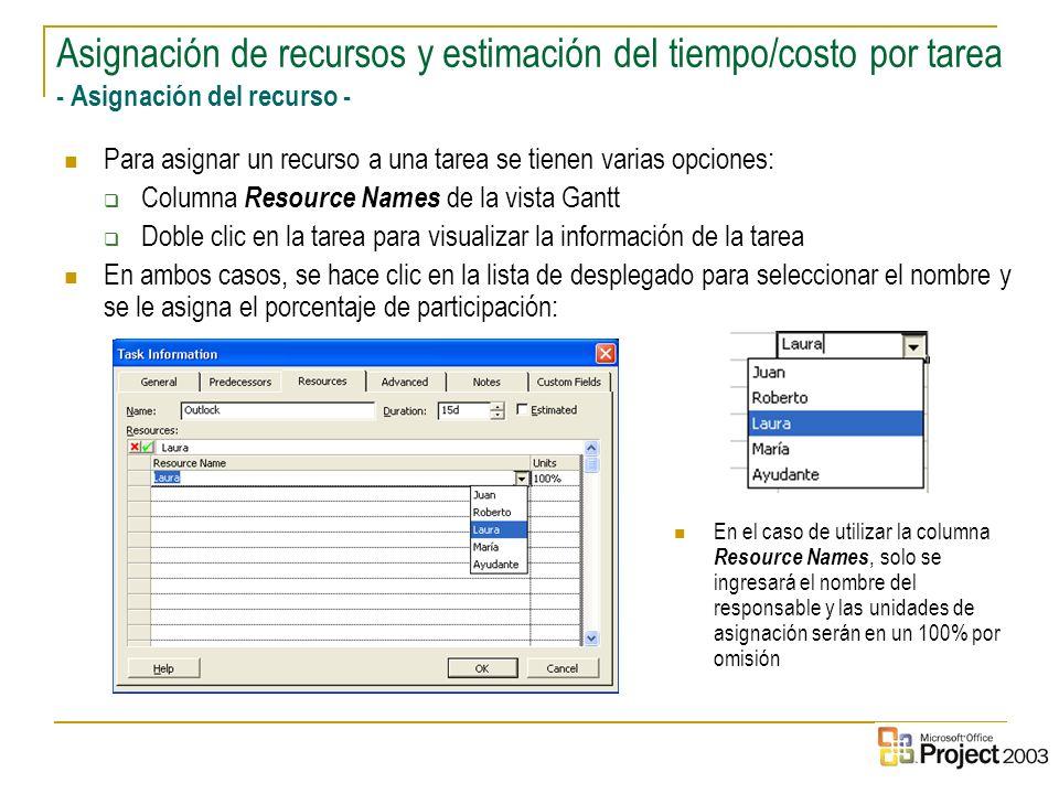 23 Para asignar un recurso a una tarea se tienen varias opciones: Columna Resource Names de la vista Gantt Doble clic en la tarea para visualizar la i