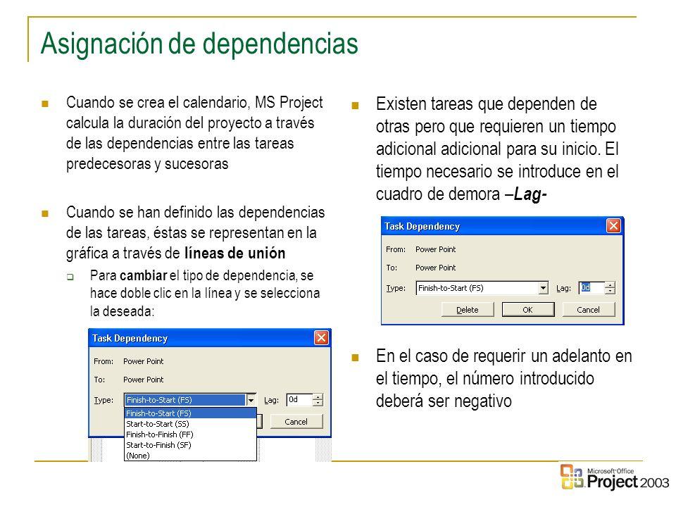 27 Asignación de dependencias Cuando se crea el calendario, MS Project calcula la duración del proyecto a través de las dependencias entre las tareas