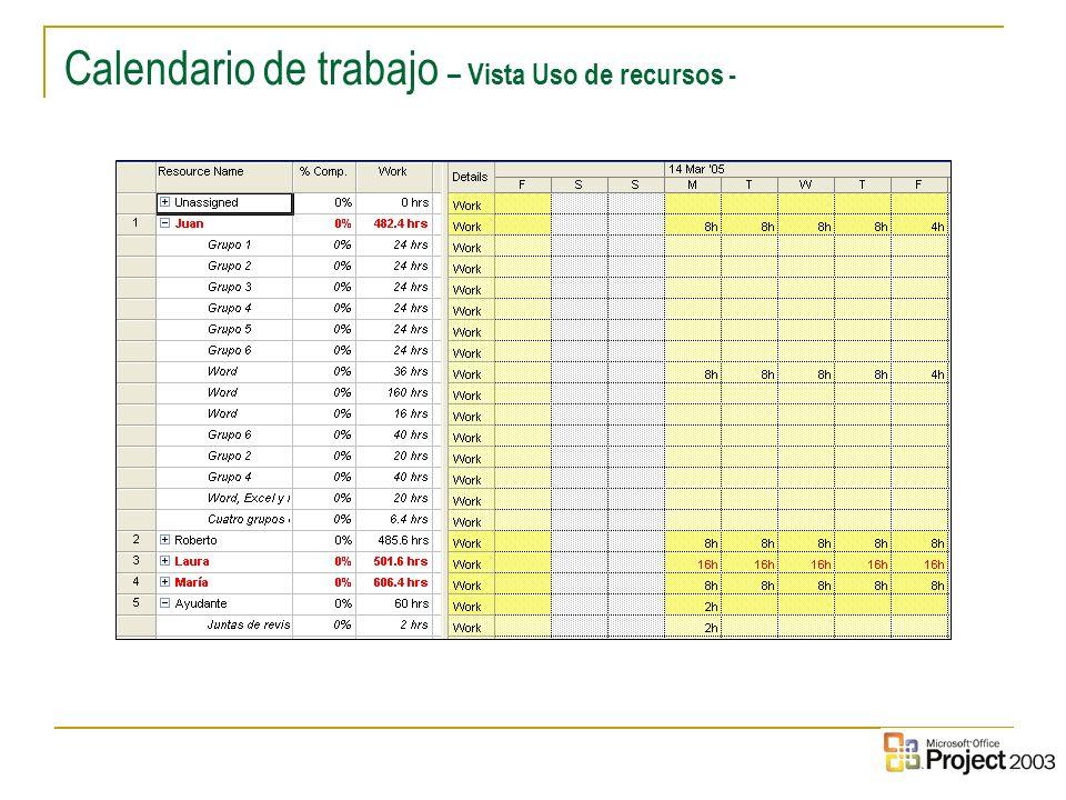 32 Calendario de trabajo – Vista Uso de recursos -