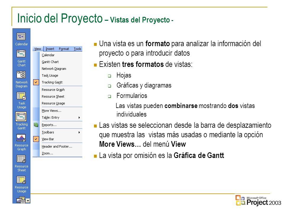 6 Inicio del Proyecto – Vistas del Proyecto - Una vista es un formato para analizar la información del proyecto o para introducir datos Existen tres f