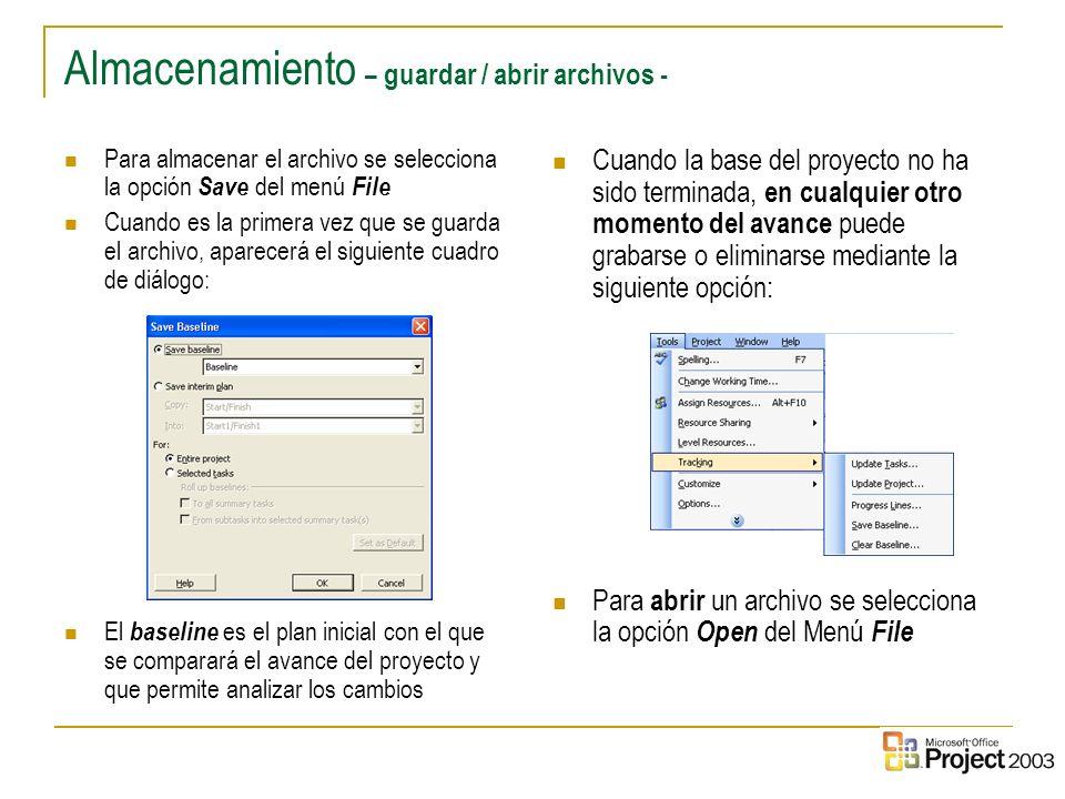 9 Almacenamiento – guardar / abrir archivos - Para almacenar el archivo se selecciona la opción Save del menú File Cuando es la primera vez que se gua