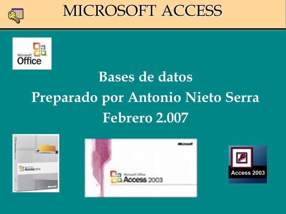 MICROSOFT ACCESS Bases de datos Preparado por Antonio Nieto Serra Febrero 2.007