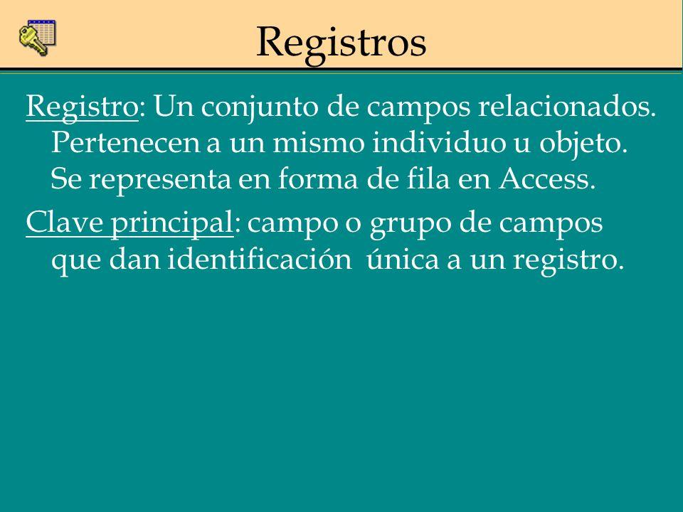 Registro: Un conjunto de campos relacionados. Pertenecen a un mismo individuo u objeto. Se representa en forma de fila en Access. Clave principal: cam