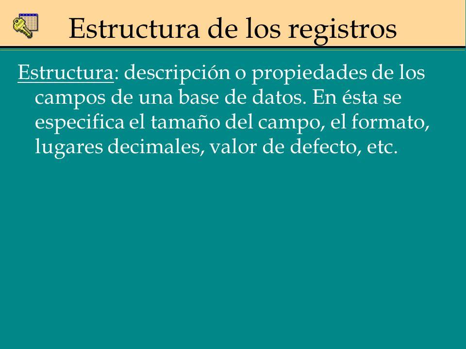 Estructura: descripción o propiedades de los campos de una base de datos. En ésta se especifica el tamaño del campo, el formato, lugares decimales, va