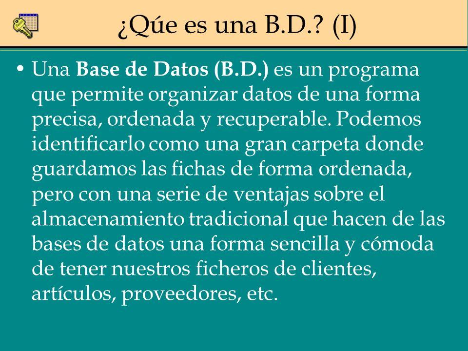 ¿Qúe es una B.D.? (I) Una Base de Datos (B.D.) es un programa que permite organizar datos de una forma precisa, ordenada y recuperable. Podemos identi