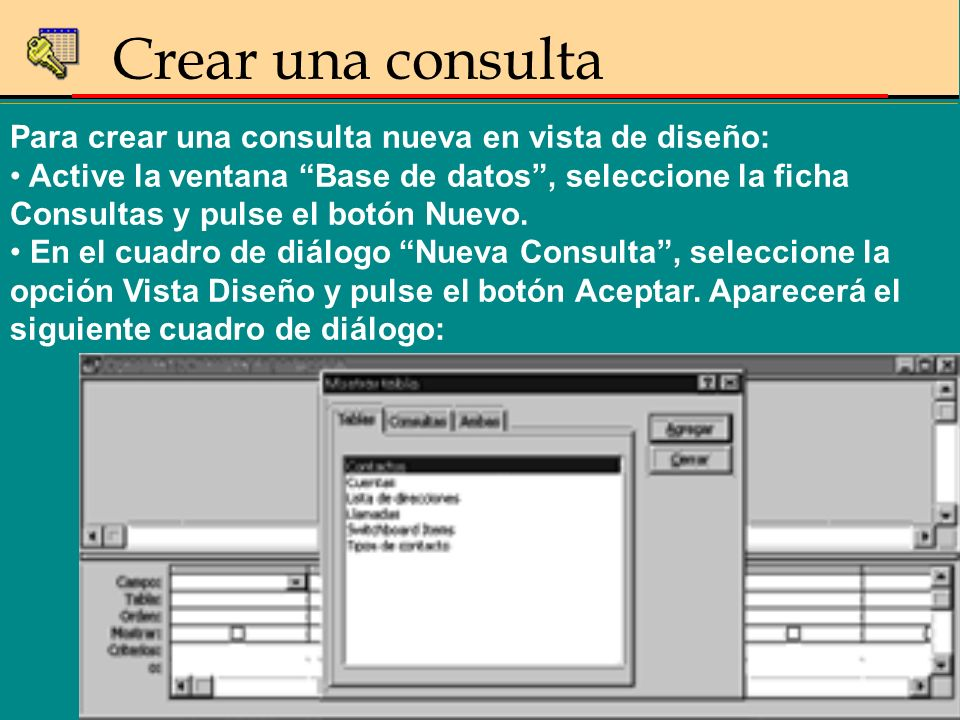 Para crear una consulta nueva en vista de diseño: Active la ventana Base de datos, seleccione la ficha Consultas y pulse el botón Nuevo. En el cuadro