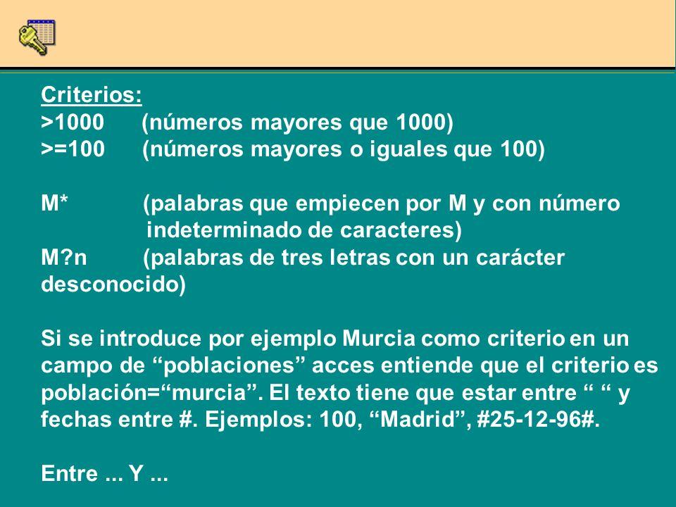 Criterios: >1000 (números mayores que 1000) >=100 (números mayores o iguales que 100) M* (palabras que empiecen por M y con número indeterminado de caracteres) M?n (palabras de tres letras con un carácter desconocido) Si se introduce por ejemplo Murcia como criterio en un campo de poblaciones acces entiende que el criterio es población=murcia.