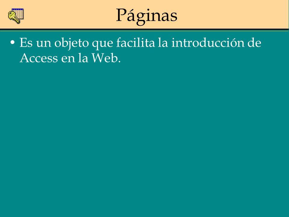 Páginas Es un objeto que facilita la introducción de Access en la Web.
