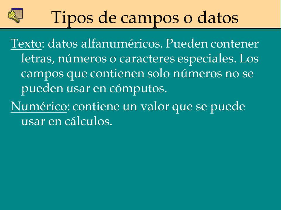 Tipos de campos o datos Texto: datos alfanuméricos. Pueden contener letras, números o caracteres especiales. Los campos que contienen solo números no