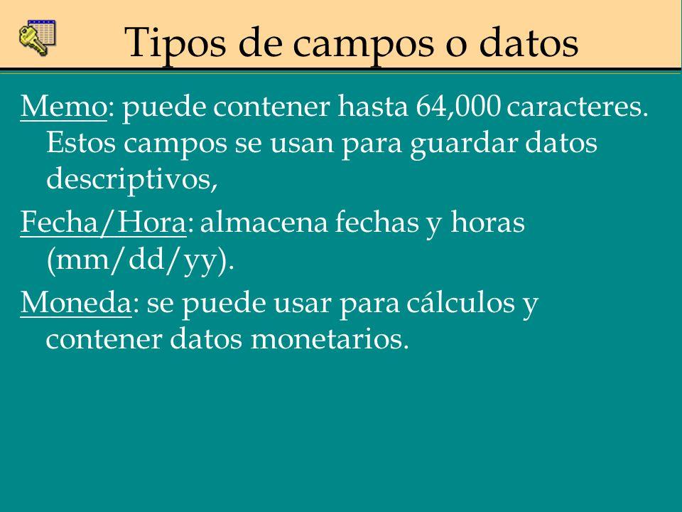 Memo: puede contener hasta 64,000 caracteres. Estos campos se usan para guardar datos descriptivos, Fecha/Hora: almacena fechas y horas (mm/dd/yy). Mo