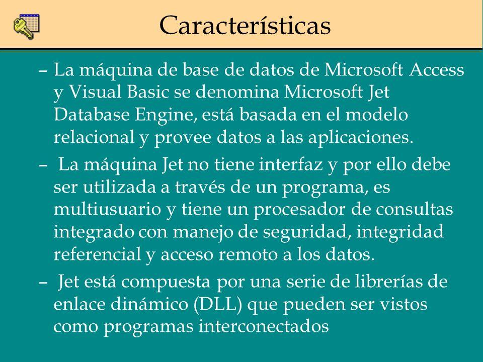 Características –La máquina de base de datos de Microsoft Access y Visual Basic se denomina Microsoft Jet Database Engine, está basada en el modelo re