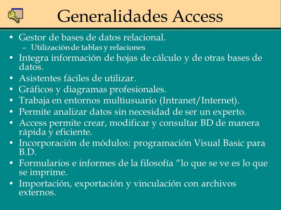 Generalidades Access Gestor de bases de datos relacional. –Utilización de tablas y relaciones Integra información de hojas de cálculo y de otras bases