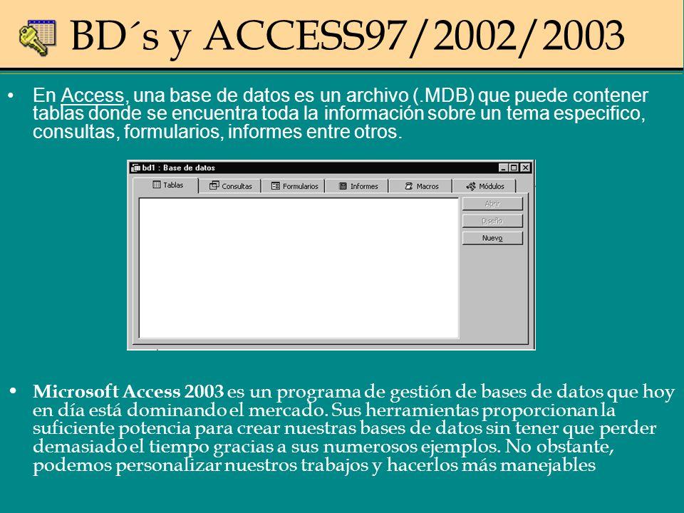 BD´s y ACCESS97/2002/2003 En Access, una base de datos es un archivo (.MDB) que puede contener tablas donde se encuentra toda la información sobre un tema especifico, consultas, formularios, informes entre otros.