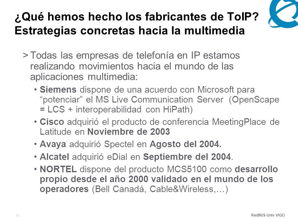 RedIRIS-Univ VIGO 11 ¿Qué hemos hecho los fabricantes de ToIP.