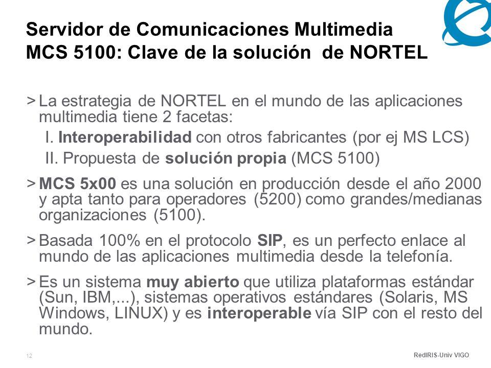 RedIRIS-Univ VIGO 12 Servidor de Comunicaciones Multimedia MCS 5100: Clave de la solución de NORTEL >La estrategia de NORTEL en el mundo de las aplicaciones multimedia tiene 2 facetas: I.