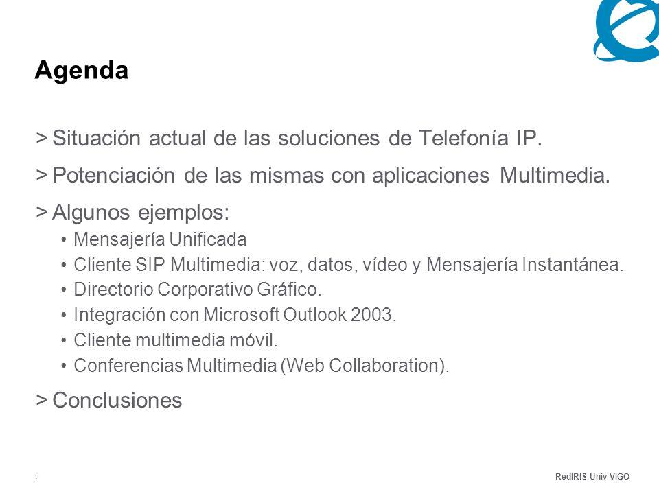 RedIRIS-Univ VIGO 2 Agenda >Situación actual de las soluciones de Telefonía IP.