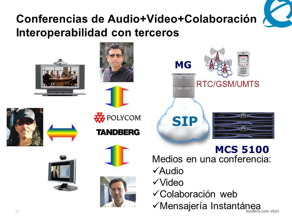 RedIRIS-Univ VIGO 31 RTC/GSM/UMTS Conferencias de Audio+Vídeo+Colaboración Interoperabilidad con terceros MCS 5100 SIP MG Medios en una conferencia: Audio Video Colaboración web Mensajería Instantánea