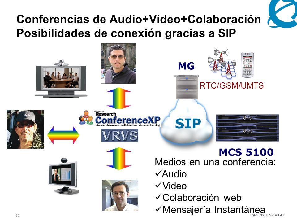 RedIRIS-Univ VIGO 32 RTC/GSM/UMTS Conferencias de Audio+Vídeo+Colaboración Posibilidades de conexión gracias a SIP MCS 5100 SIP MG Medios en una conferencia: Audio Video Colaboración web Mensajería Instantánea
