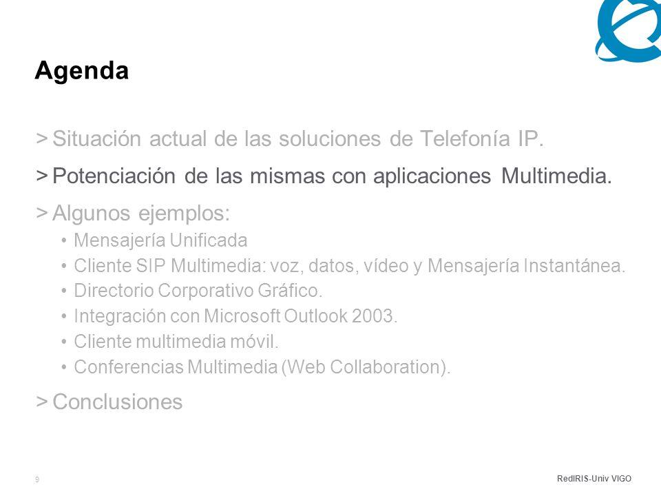 RedIRIS-Univ VIGO 9 Agenda >Situación actual de las soluciones de Telefonía IP.