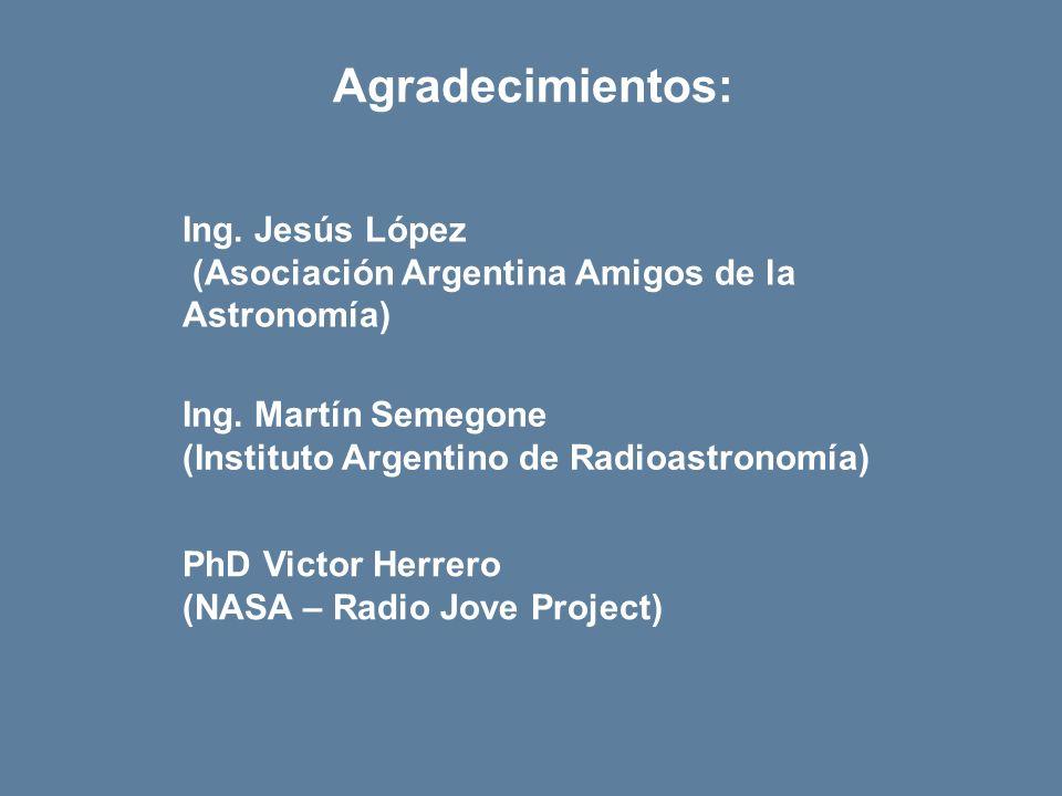 Agradecimientos: Ing.Jesús López (Asociación Argentina Amigos de la Astronomía) Ing.
