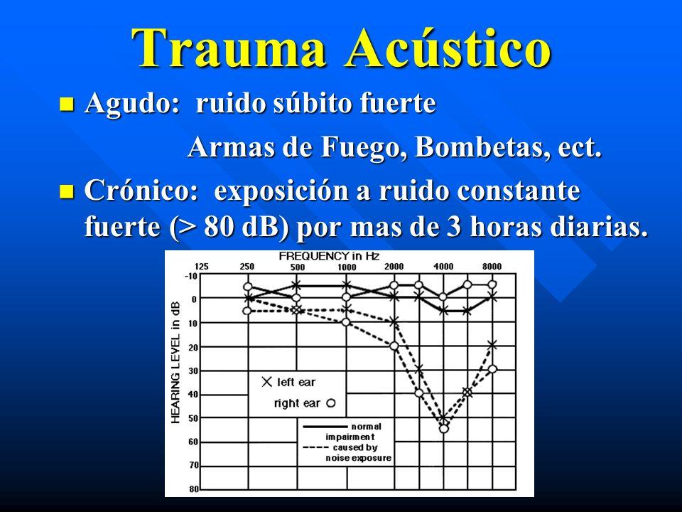Trauma Acústico Agudo: ruido súbito fuerte Agudo: ruido súbito fuerte Armas de Fuego, Bombetas, ect. Armas de Fuego, Bombetas, ect. Crónico: exposició