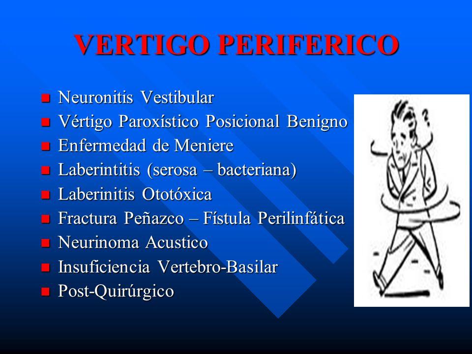 VERTIGO PERIFERICO Neuronitis Vestibular Neuronitis Vestibular Vértigo Paroxístico Posicional Benigno Vértigo Paroxístico Posicional Benigno Enfermeda