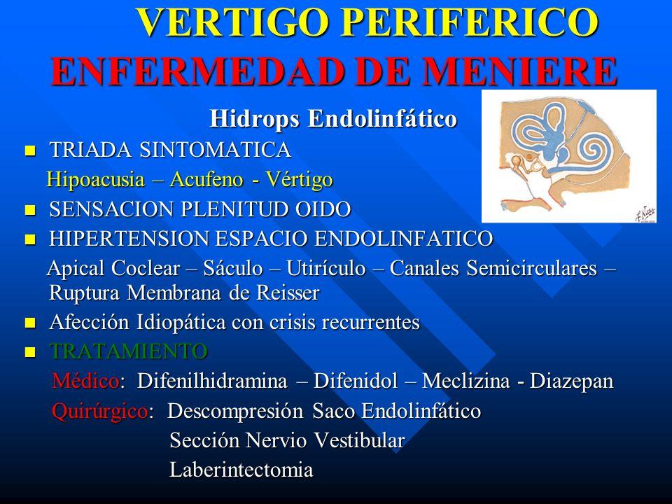 VERTIGO PERIFERICO ENFERMEDAD DE MENIERE Hidrops Endolinfático TRIADA SINTOMATICA TRIADA SINTOMATICA Hipoacusia – Acufeno - Vértigo Hipoacusia – Acufe