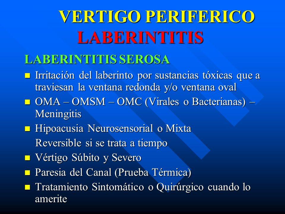 VERTIGO PERIFERICO LABERINTITIS VERTIGO PERIFERICO LABERINTITIS LABERINTITIS SEROSA Irritación del laberinto por sustancias tóxicas que a traviesan la