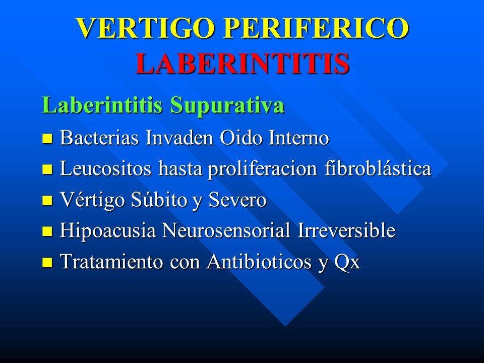 VERTIGO PERIFERICO LABERINTITIS Laberintitis Supurativa Bacterias Invaden Oido Interno Bacterias Invaden Oido Interno Leucositos hasta proliferacion f