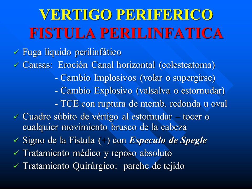 VERTIGO PERIFERICO FISTULA PERILINFATICA Fuga líquido perilinfático Fuga líquido perilinfático Causas: Eroción Canal horizontal (colesteatoma) Causas: