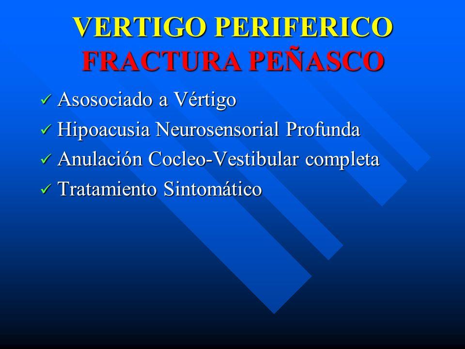 VERTIGO PERIFERICO FRACTURA PEÑASCO Asosociado a Vértigo Asosociado a Vértigo Hipoacusia Neurosensorial Profunda Hipoacusia Neurosensorial Profunda An