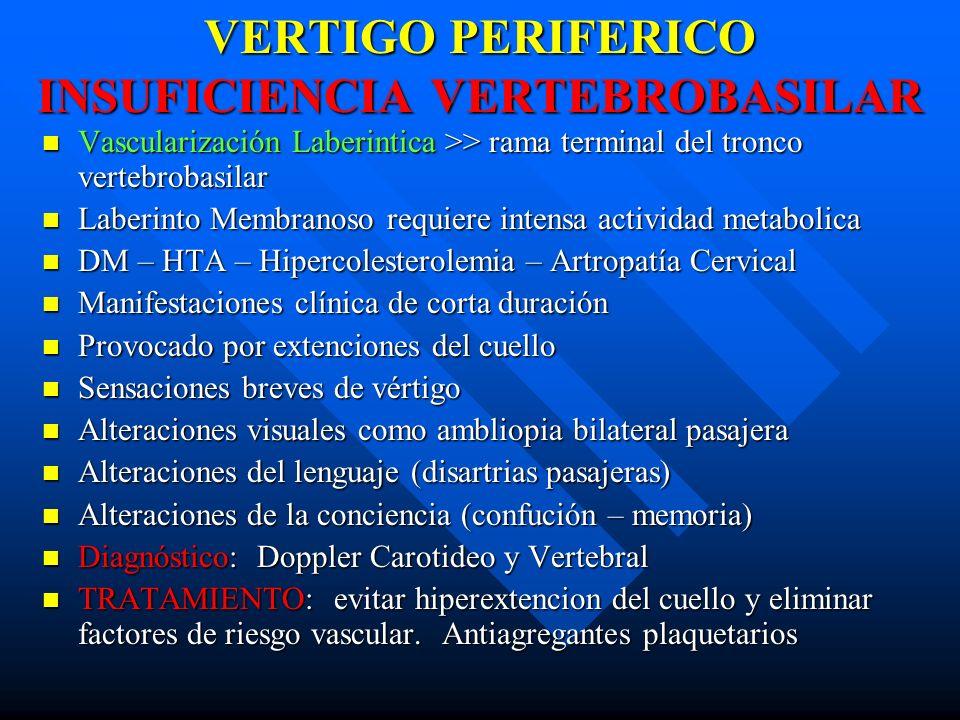 VERTIGO PERIFERICO INSUFICIENCIA VERTEBROBASILAR Vascularización Laberintica >> rama terminal del tronco vertebrobasilar Vascularización Laberintica >