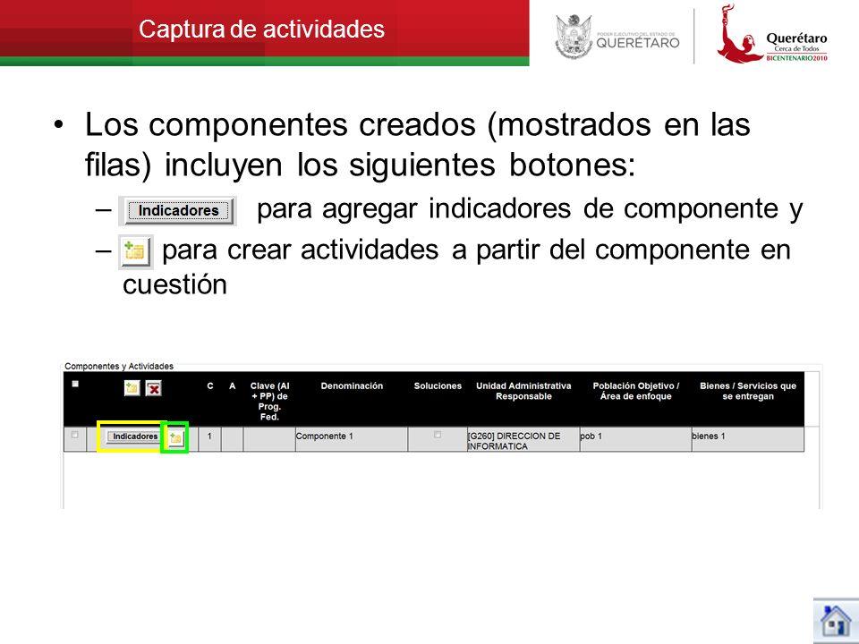 Captura de actividades Los componentes creados (mostrados en las filas) incluyen los siguientes botones: – para agregar indicadores de componente y –