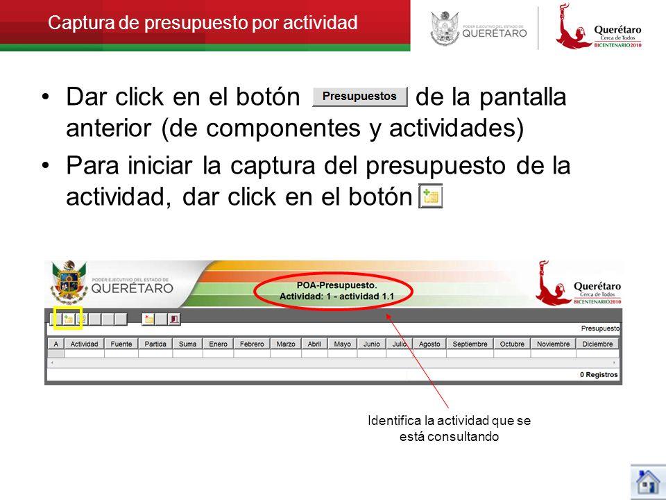 Captura de presupuesto por actividad Dar click en el botón de la pantalla anterior (de componentes y actividades) Para iniciar la captura del presupue