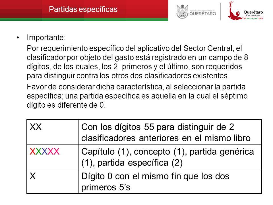 Partidas específicas Importante: Por requerimiento específico del aplicativo del Sector Central, el clasificador por objeto del gasto está registrado