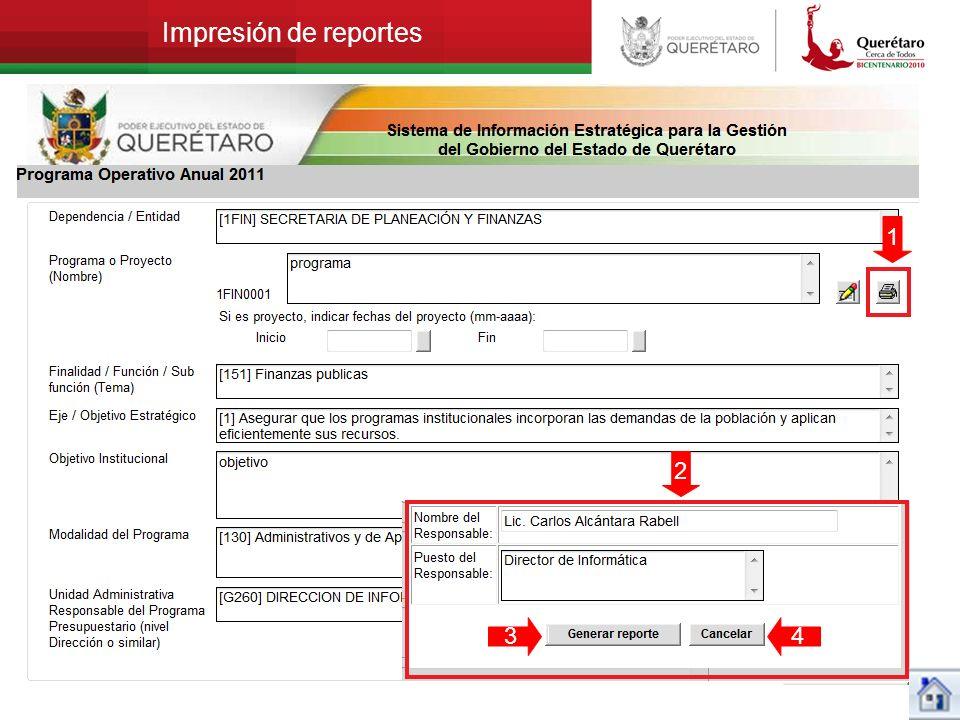 Impresión de reportes 1 2 34