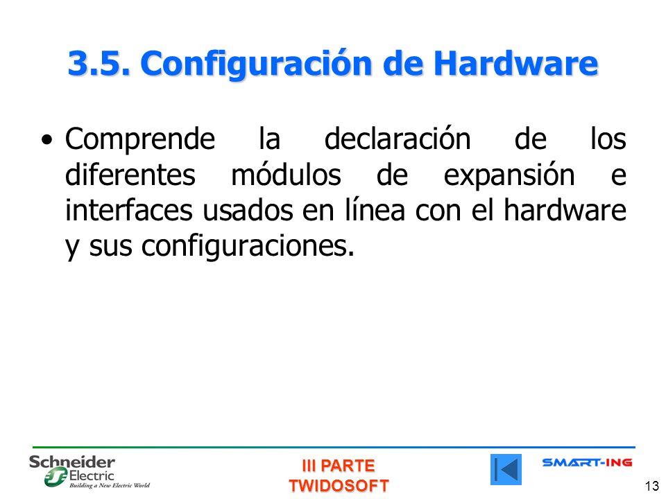 III PARTE TWIDOSOFT 13 3.5. Configuración de Hardware Comprende la declaración de los diferentes módulos de expansión e interfaces usados en línea con