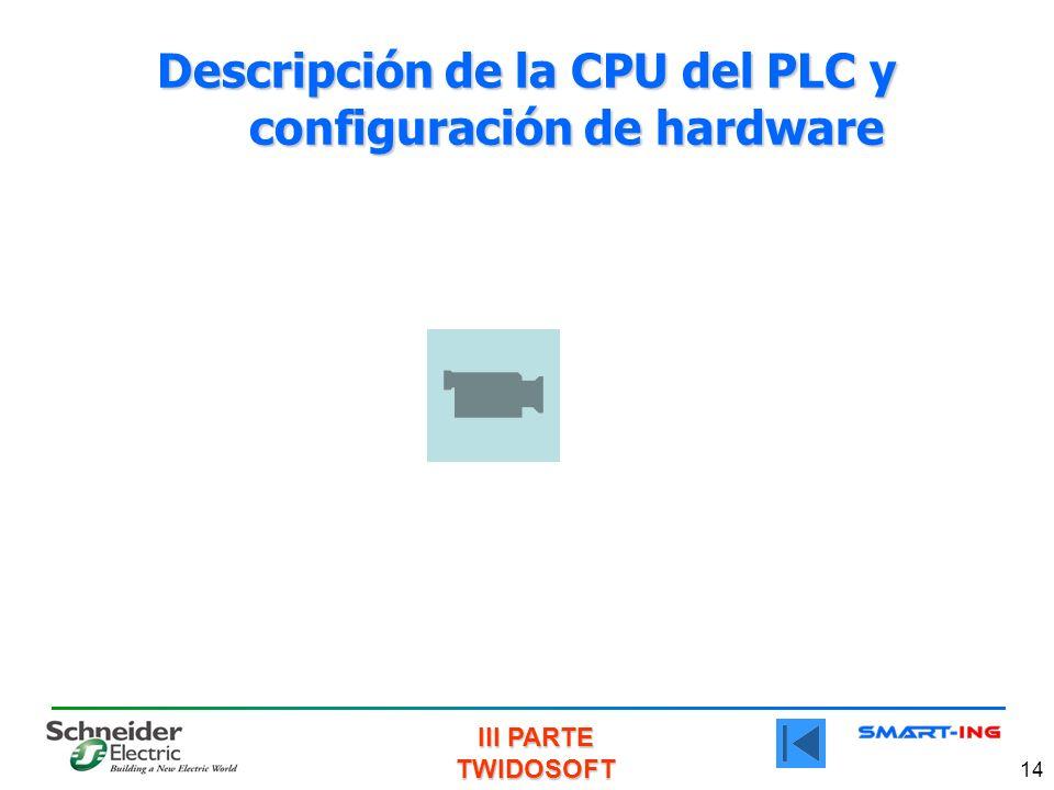 III PARTE TWIDOSOFT 14 Descripción de la CPU del PLC y configuración de hardware