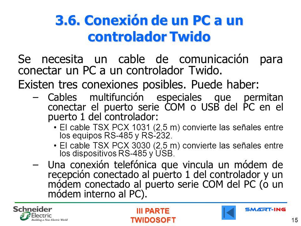 III PARTE TWIDOSOFT 15 3.6. Conexión de un PC a un controlador Twido Se necesita un cable de comunicación para conectar un PC a un controlador Twido.