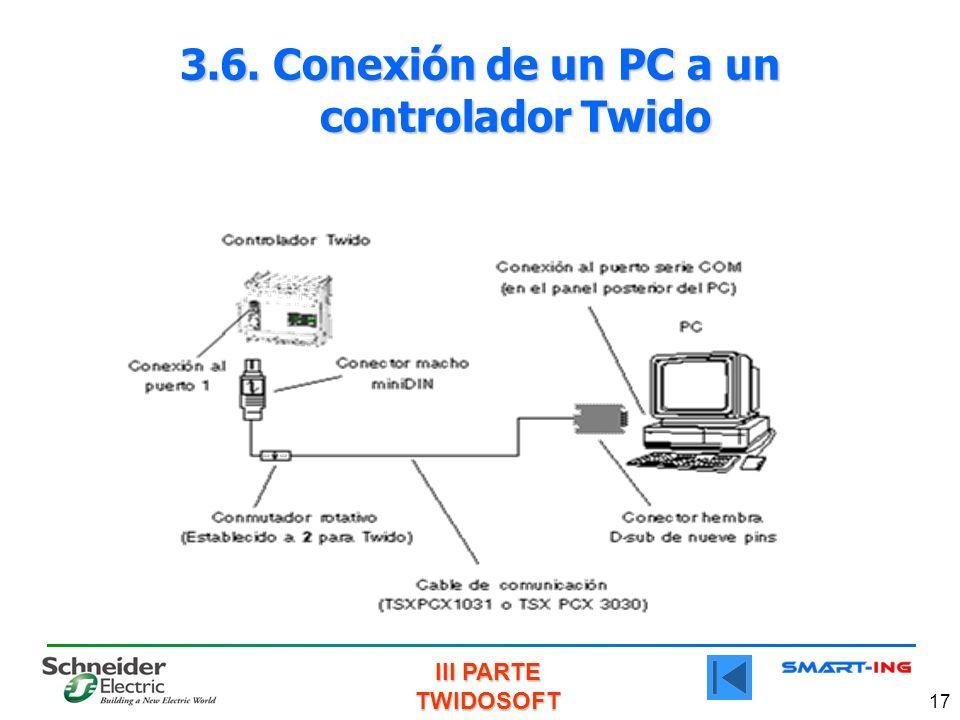 III PARTE TWIDOSOFT 17 3.6. Conexión de un PC a un controlador Twido