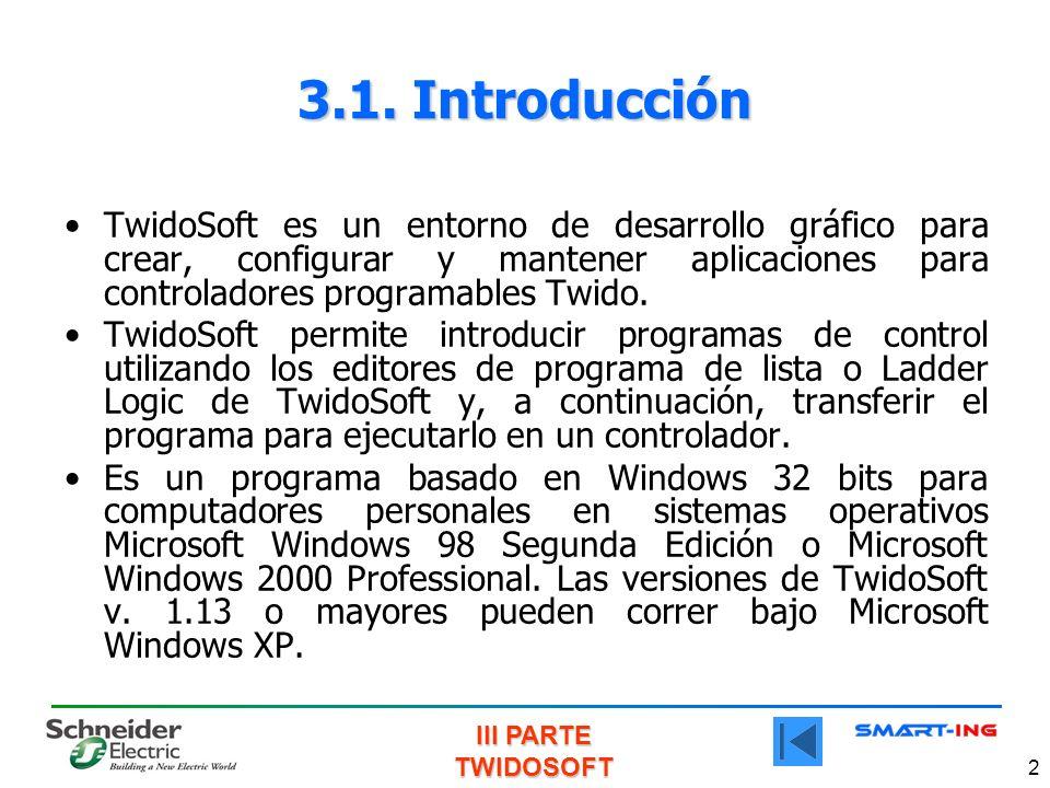 III PARTE TWIDOSOFT 2 TwidoSoft es un entorno de desarrollo gráfico para crear, configurar y mantener aplicaciones para controladores programables Twido.