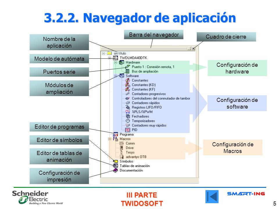 III PARTE TWIDOSOFT 5 3.2.2. Navegador de aplicación Modelo de autómata Puertos serie Módulos de ampliación Configuración de impresión Editor de tabla