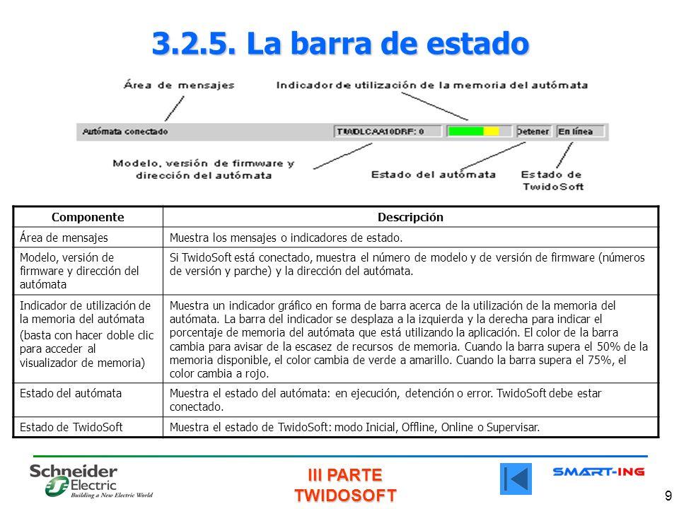III PARTE TWIDOSOFT 9 3.2.5. La barra de estado ComponenteDescripción Área de mensajesMuestra los mensajes o indicadores de estado. Modelo, versión de