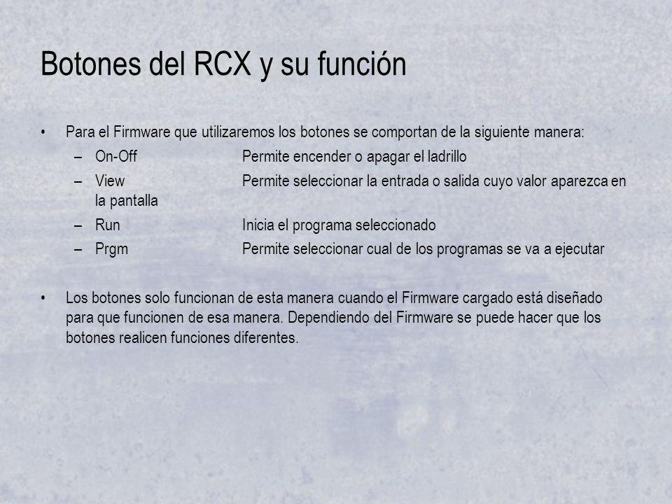 Botones del RCX y su función Para el Firmware que utilizaremos los botones se comportan de la siguiente manera: –On-OffPermite encender o apagar el la