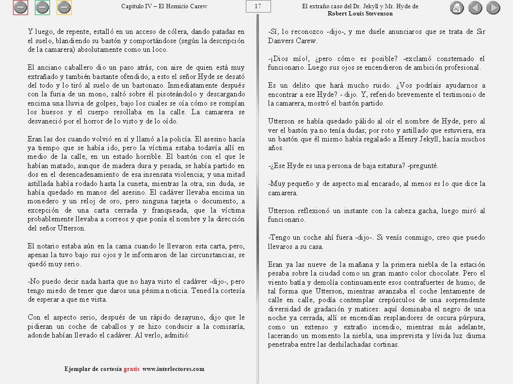 17 Ejemplar de cortesía gratis www.interlectores.com El extraño caso del Dr.