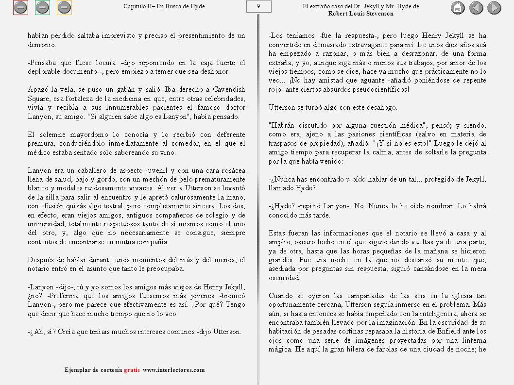 20 Ejemplar de cortesía gratis www.interlectores.com El extraño caso del Dr.