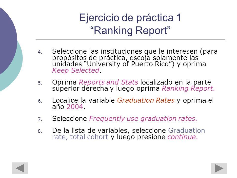 Ejercicio de práctica 1 Ranking Report 4.